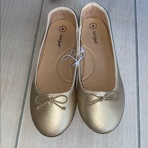 NWT Cat & Jack Gold Ballet Flats Dress Party Shoes